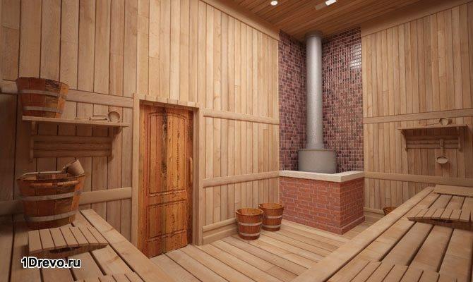 Интерьер большой бани