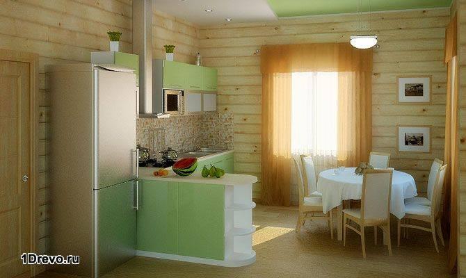 кухня в доме из бруса интерьер кухни в деревянном доме из бруса