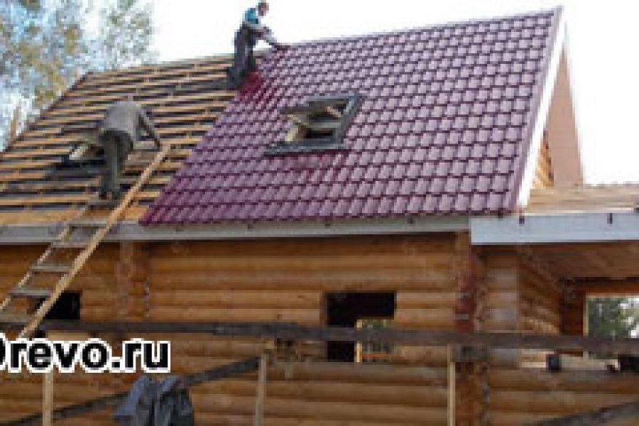 Крыша на срубе из бревна своими руками