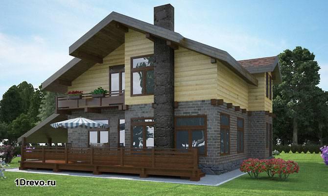 Кирпично-брусовый дом