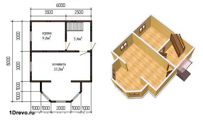План дома с эркером