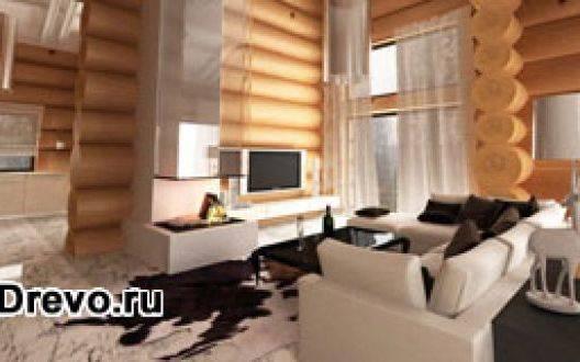 Дизайн интерьера комнат современного бревенчатого дома