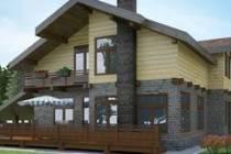 Комбинированный дом из кирпича и бруса