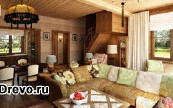 Интерьер деревянного дома в стиле кантри