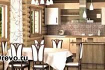 Как обустроить интерьер кухни в бревенчатом доме