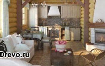 Интерьер кухни, совмещённой с гостиной в деревянном доме
