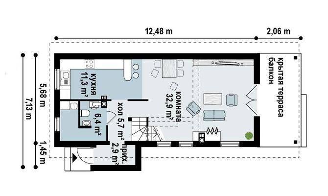 Планировка узкого дома