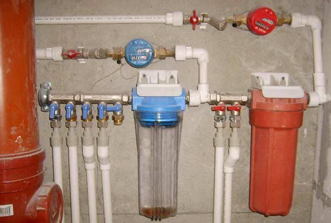 Разводка труб с фильтрами