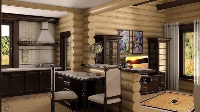 Дизайнерская планировка дома из оцилиндрованного бревна