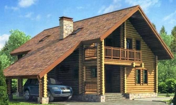Дом с гаражом, выполненным в виде навеса