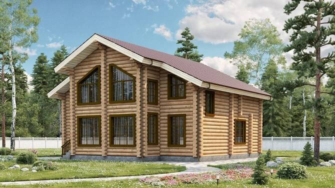 Двухэтажный дом из оцилиндровки