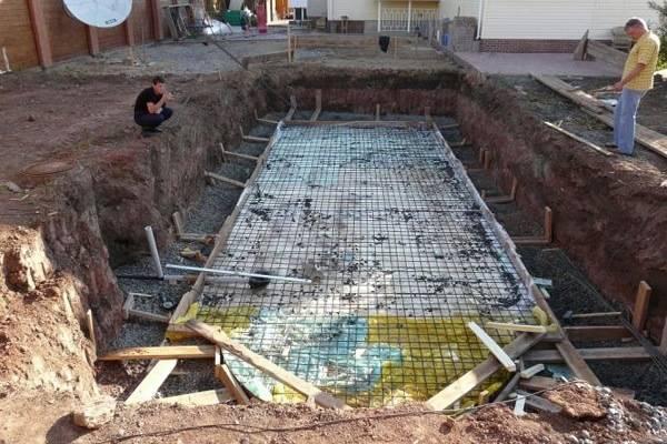 Этапы строительства бассейна в бане