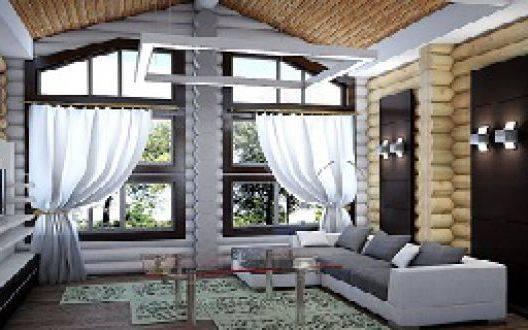 Планировка дома из оцилиндрованного бревна 10 × 10