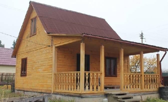 Одноэтажный дом из бруса 4 на 6 для дачи
