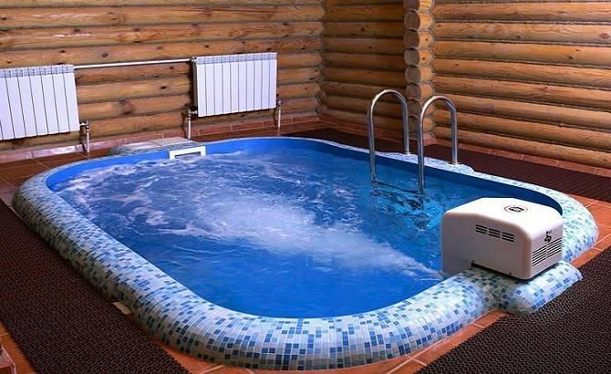 Отделка бани с бассейном