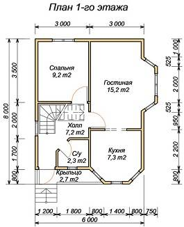 Планировка дома 6х8