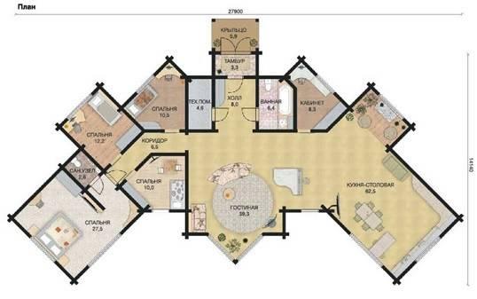Пример планировки дома из клеёного бруса