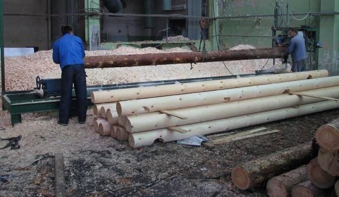 Производство оцилиндрованного бревна компания Карельский плотник