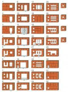 Схема кладки отопительно-варочной печи