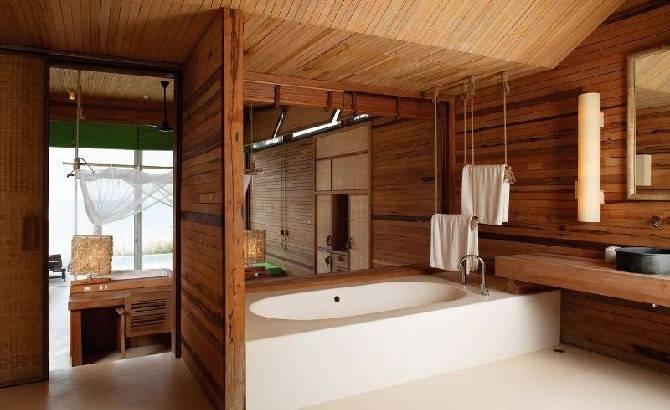 Ванная комната в брусовом доме